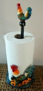 Cast-iron-kitchen-paper-towel-holder-Rooster-Chicken-Rustic-style-UK-SELLER