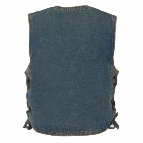 Milwaukee Leather Kids Basic Denim Vest **Snap Closure** /& **Side Lace** MDK3900