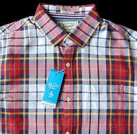 Men's Penguin Red Gold White Blue Plaid Shirt Slim Fit Medium M Cool