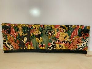 Vintage-COLORFUL-Hand-Carved-Glyph-Style-Wood-Wall-Art-TRIBAL-ANIMALS-38x12