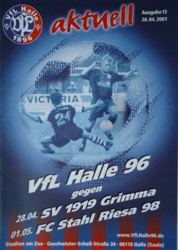 SV 1919 Grimma Stahl Riesa Programm 2000//01 VfL Halle 96 nachg.