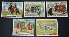 5 CHROMOS 1936 CAFES GILBERT TRANSPORT AVION CAROSSE  CHEVAL SERIE 5