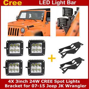 Details About 4x 24w 3 Led Light Pods Windshield A Pillar Mount Bracket For Jeep Wrangler Jk
