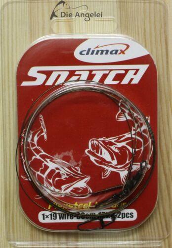 Climax Flexsteel Vorfach 2 Stück 3 Größen 1x19 60 cm mit Wirbel und Snap
