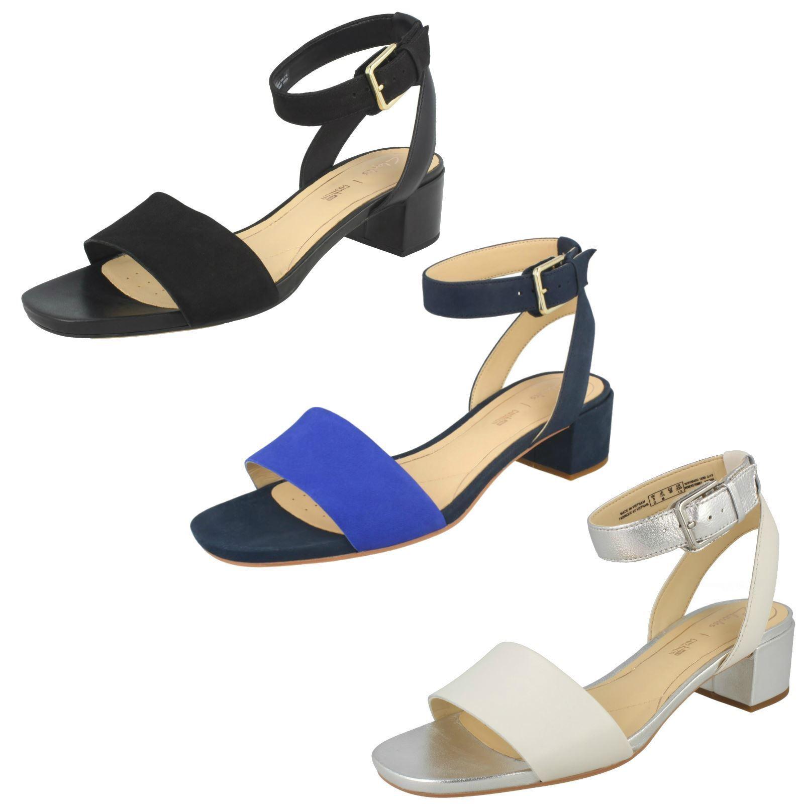 Clarks Ladies Low Heeled Peep Toe Sandals - Orabella pink
