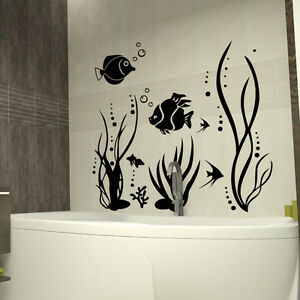 fish sea plants bubbly art quote wall stickers art bathroom rh ebay co uk wall decals for bathroom wall decals for bathroom quotes