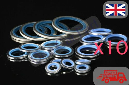 """Pneumatic /& Hydraulic 10 x 1/"""" BSP Bonded Seal Sealing O-Ring Washers Auto"""