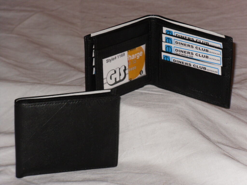Quality Mens Fold Over Leather Wallet With 8 Card Slits And Window.