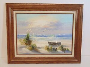 Santini-Seascape-Sea-Shore-Signed-Oil-Painting-Framed-21x17-Nautical