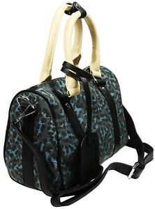 donna con a mano Navy Blu Leopard nero Borsa manici fw61ngSExq