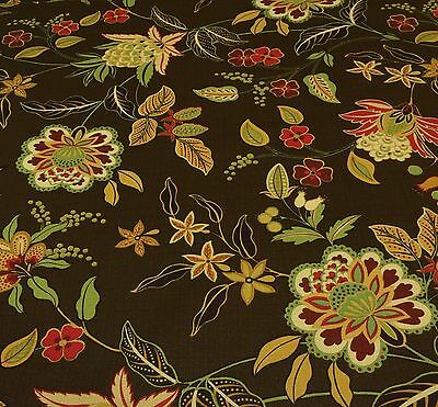 "RICHLOOM JOLINE COCOA BROWN NUBBY JACOBEAN FLORAL FURNITURE FABRIC BY YARD 54""W"