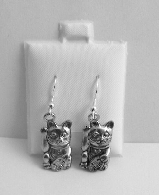 Pewter Maneki-Neko Japanese Cat on Sterling Silver Ear Wires- 0155