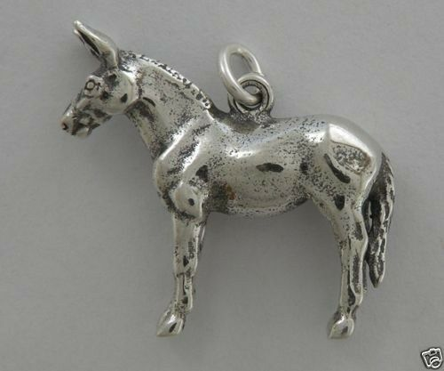 Mule 3D Necklace with Charm Jewelry ~.925 Sterling Silver-Microsculptures-Animal