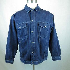 Culture Jeans Mens Embroidered Back Navy Denim Jean Jacket Xl Ebay