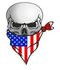 Biker Skull With Face BANDANA & American Stars & Stripes US USA Flag car sticker