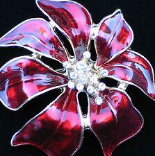 "RHINESTONE RED ENAMEL CHRISTMAS POINSETTIA FLOWER PLANT PIN BROOCH 2"" 3D LAYERED"