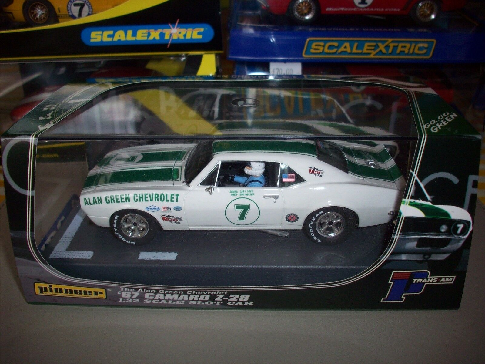 Pioneer Scalextric Rare P011 67 Camaro z-28 Alan Green Chevy Ltd Edn 848 NMIB