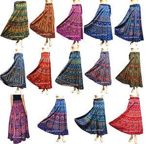 Lot of 10 Indian Women Floral Rapron Printed 100/% Cotton Long Wrap Around Skirt