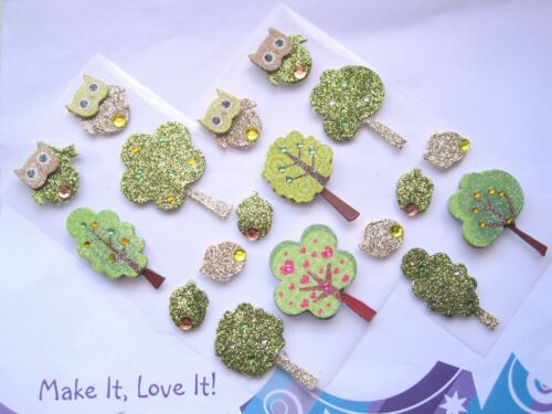 9 x Glitter WOODLAND OWL TREE ACORN Stick on Card Toppers Mix Green Gold CRAFTS