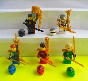 5-Lego-Figuren-Ninjago-Jay-Kai-Cole-Zane-Lloyd-Waffen-Haare-Helm-Ninja-Figur-Neu