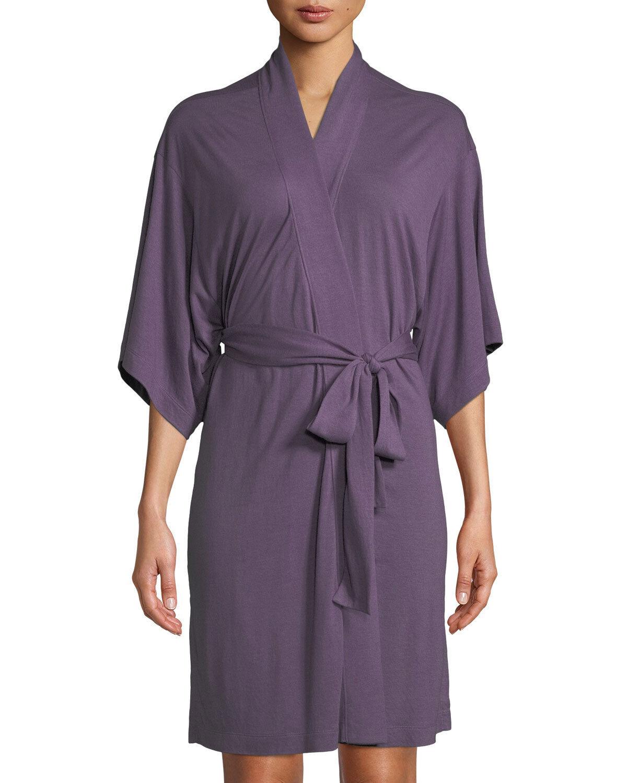 Natori SHANGRI-LA Amethyst Purple Modal Polyester Jersey Knit Short Wrap Robe  M