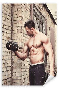 Postereck-Poster-1901-Mann-Fitness-Sixpack-Muskeln-Hanteln-Training-Sport