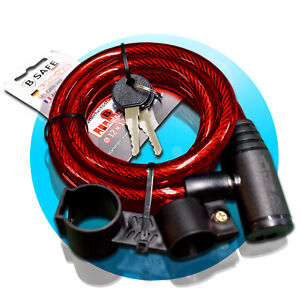 SPIRALSCHLOSS-12x1200mm-rot-Kabelschloss-Fahrradschloss-Halterung-B-Safe