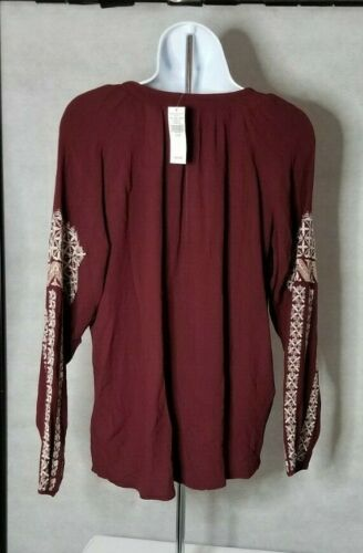 American Eagle Outfitters Burgundy Cream Tunic Shirt Top Boho XS S M L NWT FAST