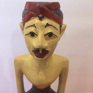 "Wood Carved Polychrome Statue Indonesian Man Folk Art 13"" Tall"