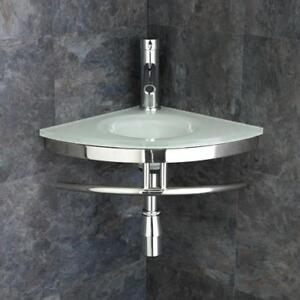 Image Is Loading Wall Mounted Corner Basin White Glass Bathroom Sink