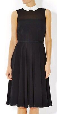 COAST ROWENA SILKY BLACK CORAL PINK WHITE FIT N FLARE SKATER DRESS 12 ONCE