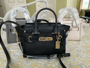 e73d036398f96 Image is loading NWT-Coach-Swagger-20-Pebble-leather-satchel-crossbody-