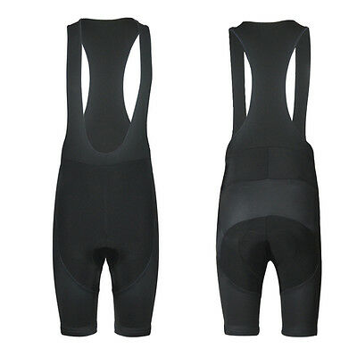Mens Solid Black Cycling Bib Pad Shorts Wear Bike Riding Race Bottoms Uniforms