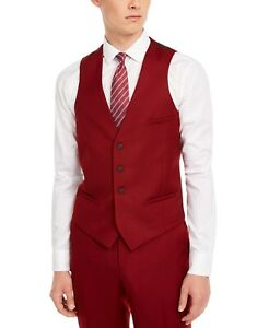 Bar III Mens Suit Separate Red Size Medium M Vest Slim Fit Wool $125 #118