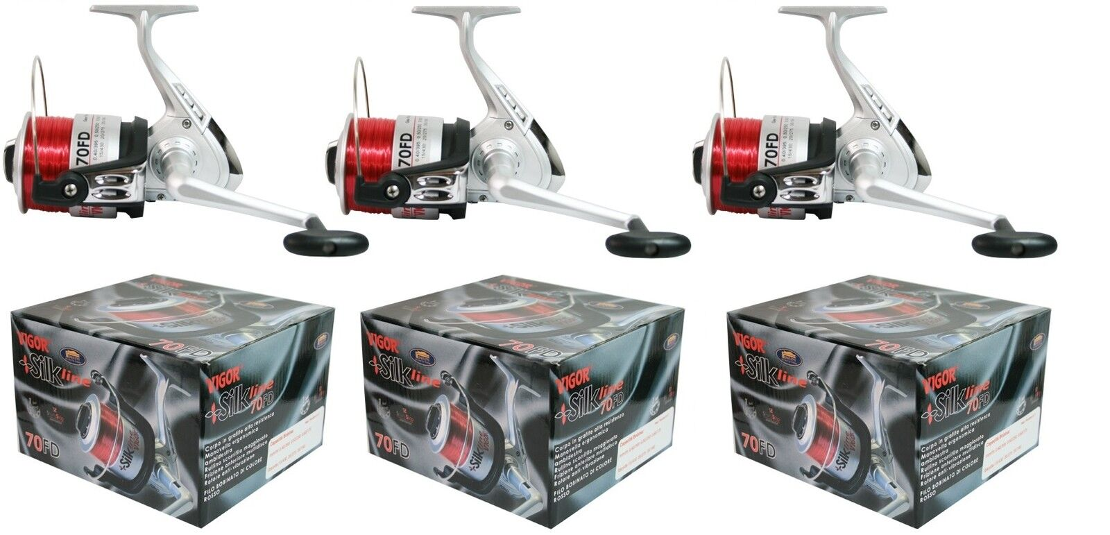 3 x Silk Full Size Beachcasting   Beach   Sea Fishing Reels With Red Line