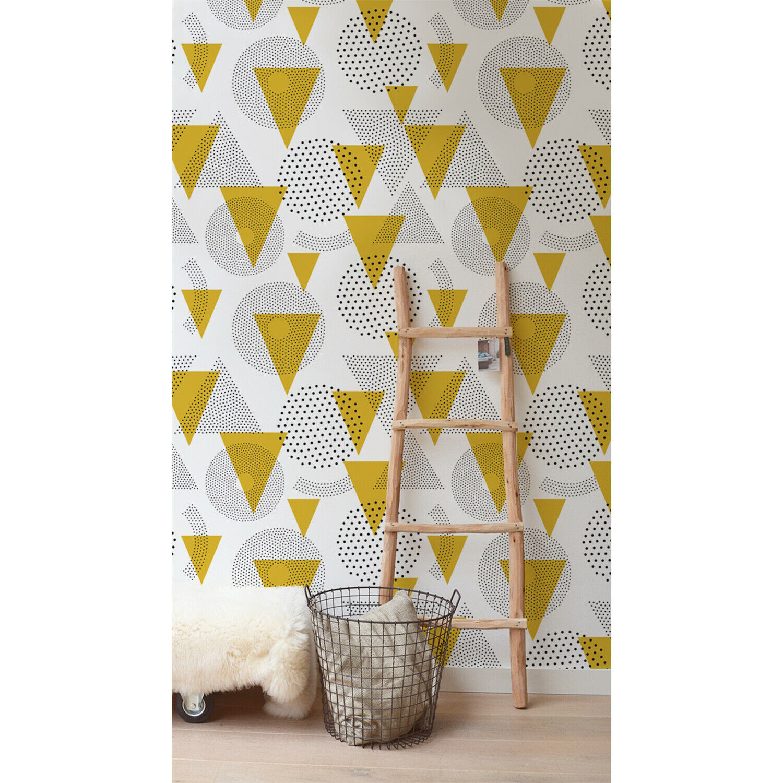 Mustard Geometric Modern Removable Wallpaper Geometric Pattern Self Adhesive