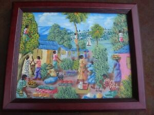 Framed 8 X 10 Haitian Village Painting By L Y Alaby Ebay