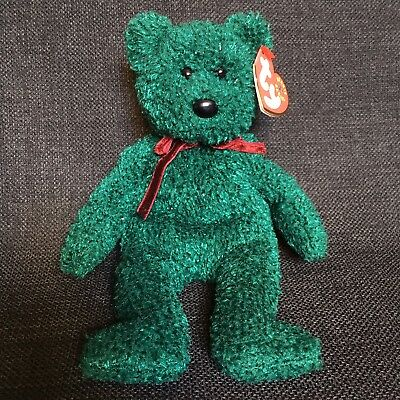 the Green /& Red Christmas Bear Ty Beanie Buddy 2001 HOLIDAY TEDDY