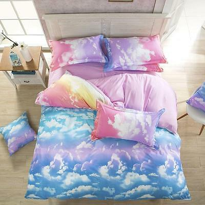 Single Queen King Size Cloud Sky Zip Open Bed Set Pillowcases Quilt Duvet Cover