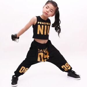 Details about 2018 New Girls Red Black Jazz Dancewear Costumes Girls Hip  Hop Dance Top+Pants