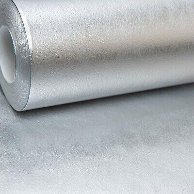 Metallic Silver Shiney Foil Plain Vinyl Wallpaper Free No Match