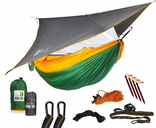 Double Hammock Ryno Tuff Camping Hammock with Mosquito Net And Rain Fly