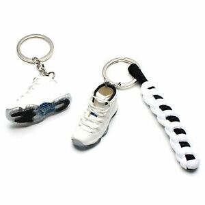 3D Mini Sneaker Shoes Keychain Retro Legend Blue With Strings for Air Jordan 11