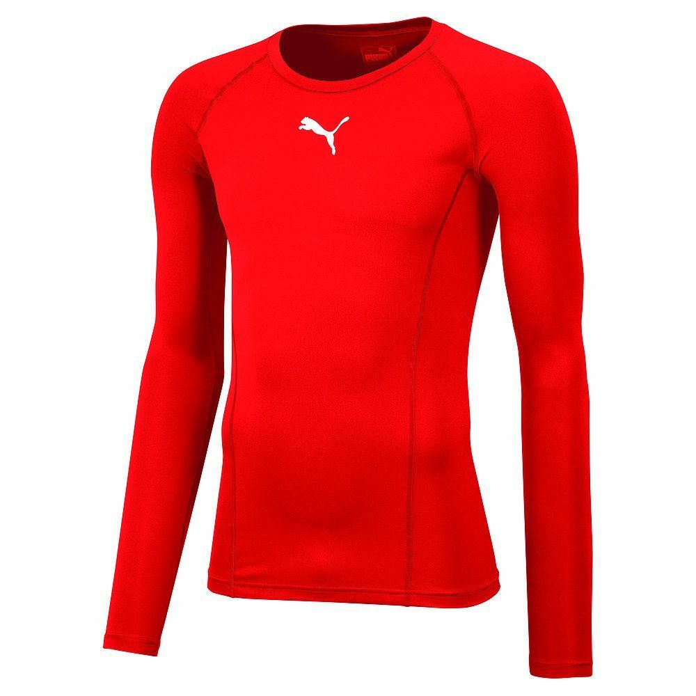 Puma Mens Sports Football Soccer LIGA Base Layer Long Sleeve Tee Shirt Top Red