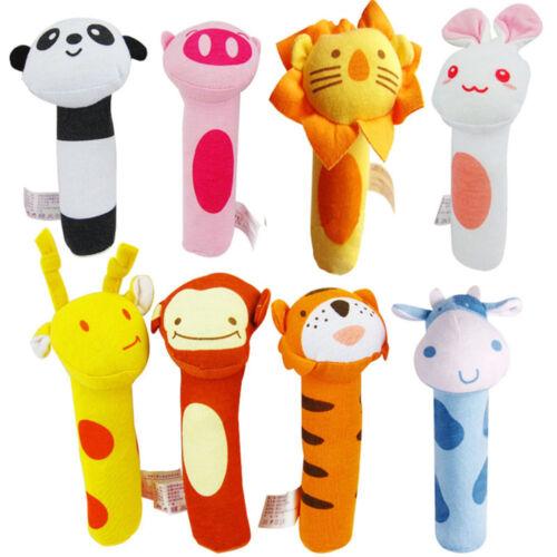 0-12M Newborn Baby Toys Soft Cartoon Animal Handbells Plush Rattles Squeeze Hot