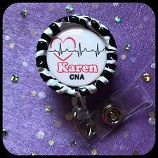NURSE RN PERSONALIZED Name Bottle Cap ID Badge Holder Lanyard Work Clip Heart