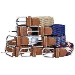 Rare-Mens-L106cm-Sports-Webbing-Canvas-Stretch-Golf-Belt-Waistband-Pin-Buckle