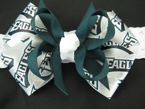 Baby Girls Team Sport Philadelphia Eagles NFL Ribbon Hair Bow Clip ... 3e71e152cc6