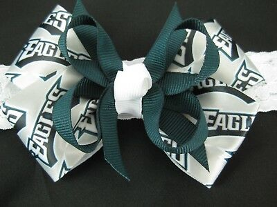 Philadelphia Eagles Hair Bow With or W//O Headband Baby Toddler NFL*SHIPS FREE