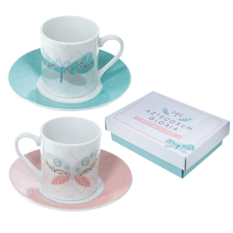 Alessi KU 2 4 6 Porcelain Cups /& Saucer Espresso Coffee Ceramic Gift Boxed Set